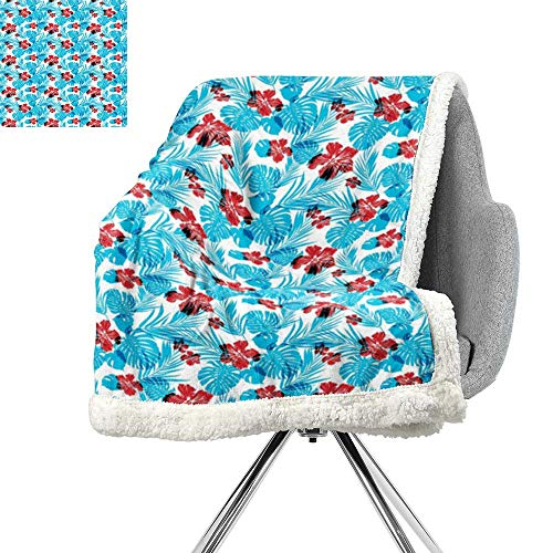 ScottDecor Luau Light Thermal Blanket,Palm Tree Leaves with Hibiscus Petals Traditional Icons of Exotic Beach Illustration,Blue Red,Warm Breathable Comforter for Girls Kids Adults W59xL78.7 Inch