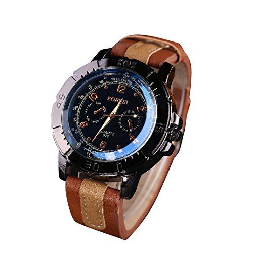 Perman Luxury Men's Watches Analog Quartz Faux Leather Sport Wrist Dress Watch Coffee