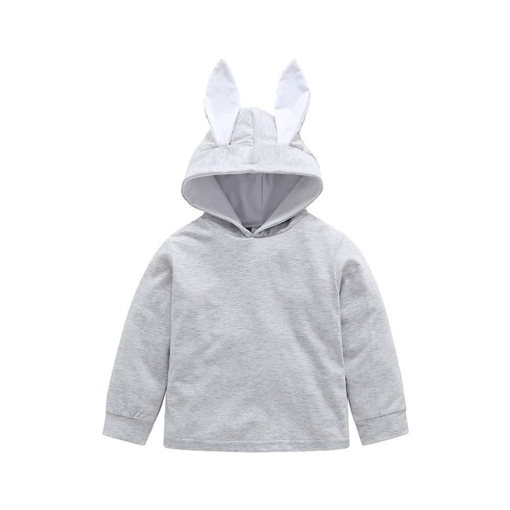 Children Kids Boys Girls Cartoon Rabbit Ears Hooded Sweatshirt Top Pullover