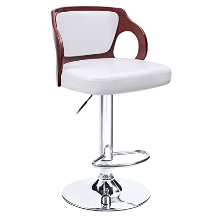 Homall Bar Stool Walnut Bentwood Adjustable Height Bar Stools With White  Vinyl Seat To Decorate Your