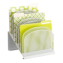 Safco Products 3258WH Onyx Mesh Desktop Organizer with 8 Tiered Sections, White