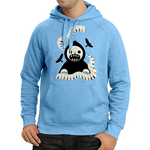 Hoodie Halloween Horror Nights - The Death Is Playing On Piano - Cool Scarry Design (X-Large Blue Multi Color) (Halloween Fright Nights Logo)