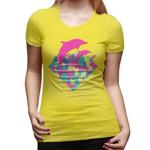 Jonesseller Ladies Personalized Tshirt Double Dolphin Design XXL Yellow