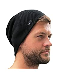 Grace Folly Slouch Beanie Hat for Men (Skull Cap) with Bonus Keychain (Many Colors)