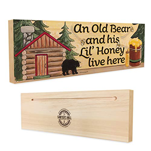 An Old Bear and his Lil' Honey Live Here. - Handmade Wood Block Sign with a Black Bear, Cabin, and Honey Bees for Couples Lodge Decor (Lil Honey)