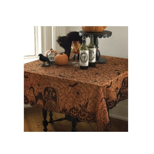 Black//Orange RP-6060BO Heritage Lace Rest In Peace 60-Inch by 60-Inch Table Topper
