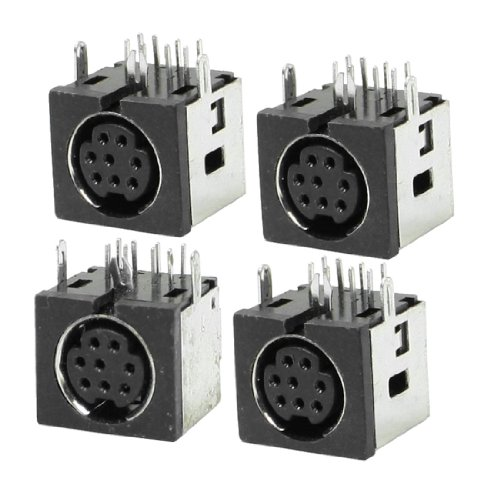 uxcell 4 Pcs Metal Case S-video 8 Pin Female PCB Mount Mini Din Sockets