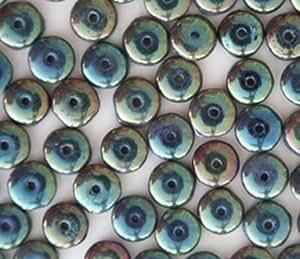 Green opaque metallic iris rainbow czech glass for Glass discs for crafts