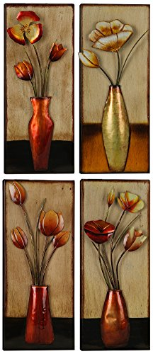 ArtMaison.ca Small Floral In Vase Metal Wall Décor, 6-Inches Wide by 15-Inches High, Set of 4 by ArtMaison.ca