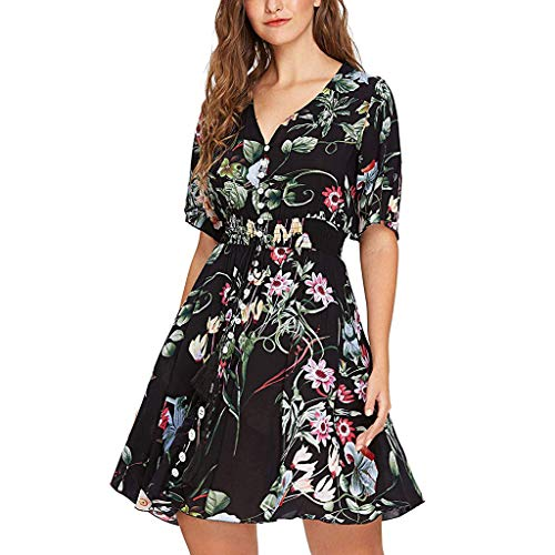 (Larmly Floral Print Elastic Waist Dress Short Sleeve V-Neck Dress Europe and The United States Women Fashion New(Black,M))