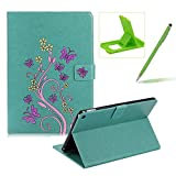 Case for iPad Air 2,Smart Leather Cover for iPad 6,Herzzer Stylish Green Butterfly Flower Design Wallet Folio Case Full Body PU Leather Protective Stand Cover with Inner Soft Silicone Shell