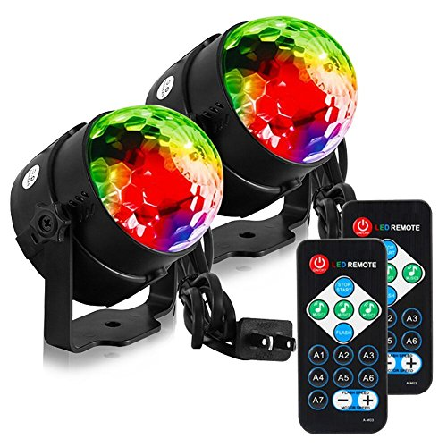 LUNSY LED Sound Activated dj Lights with Remote Control,Party Lights,Strobe Lights,dj Stage Light, 7 Lighting Color Disco Party Lights,Stage Light,Disco Ball Par Light for Wedding Show Band 2 Pack ()