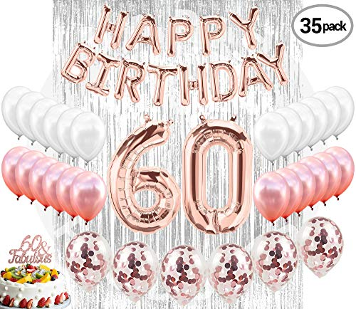 60th Birthday Decorations, 60 Birthday Party Supplies| 60 Cake Topper Rose Gold| Banner| Rose Gold Confetti Balloons for her| Silver Curtain Backdrop Props or Photos 60th Bday