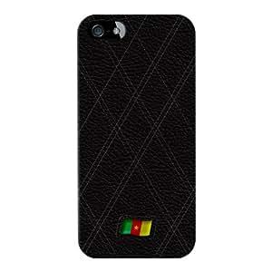 Stylish Black Leather Flag of Cameroon Lustroso abrigo lleno carcasa iPhone 5 de UltraFlags