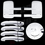 A-PADS Chrome Covers Combo Set For Chevy SILVERADO 2500HD/3500HD 2014 - 2 Towing Mirrors + 4 Door Handles WITH Passenger Keyhole + 1 Gas Door