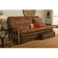 Rustic Lodge Wood Frame, Drawers and Mattress 8 Inch Innerspring Mattress Futon Set by Jerry Sales (Palance Silt Fabric)