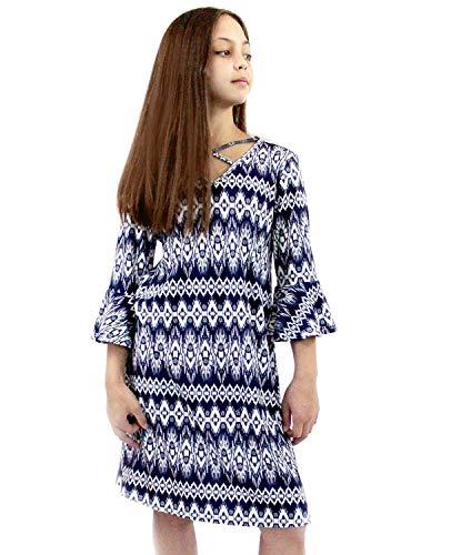 Smukke, Big Girls Printed Ruffle 3/4 Sleeves Dress, (Many Options) 7-16 (Navy Tie Dye, 10)