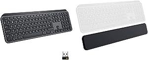 Logitech MX Keys Advanced Wireless Illuminated Keyboard - Graphite Bundle with Logitech MX Palm Rest
