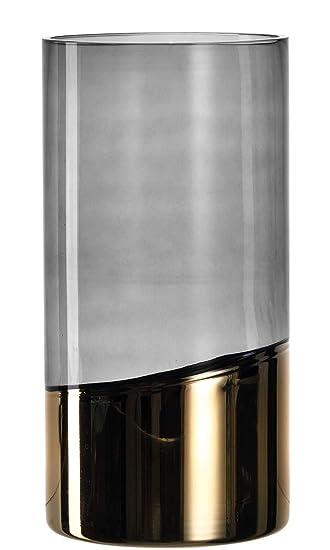 Leonardo 057466 Blumenvase Mit Zylinder Glas Gold Grau Jarron