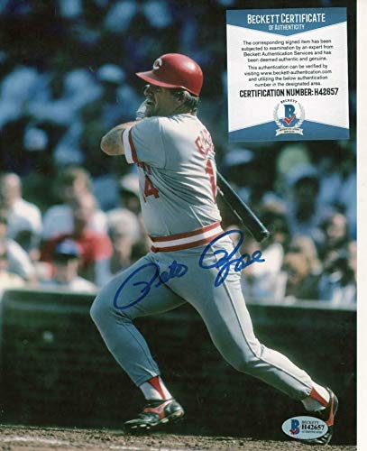 Signed Pete Rose Photograph - 8x10 Beckett H42657 - Beckett Authentication - Autographed MLB Photos