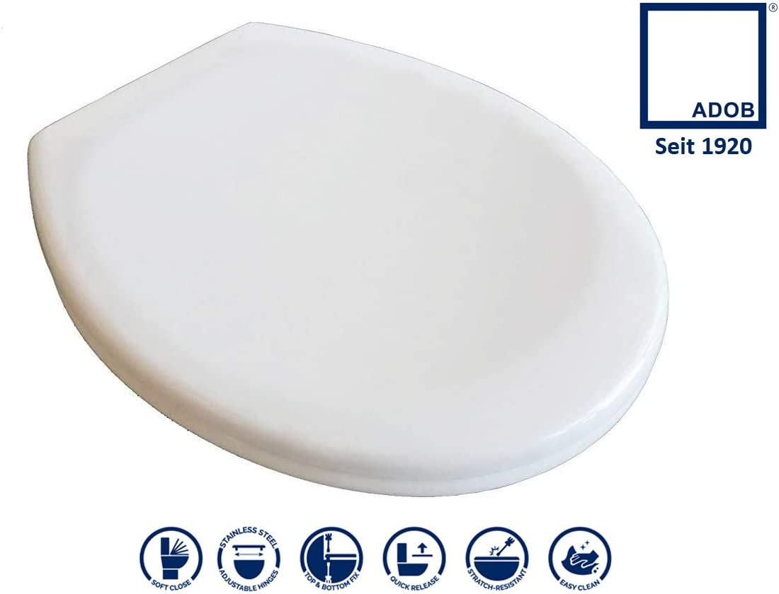 ADOB Duroplast Klobrille Monza 49102 Toilet Seat with Soft Close Mechanism, Removable for Cleaning, White