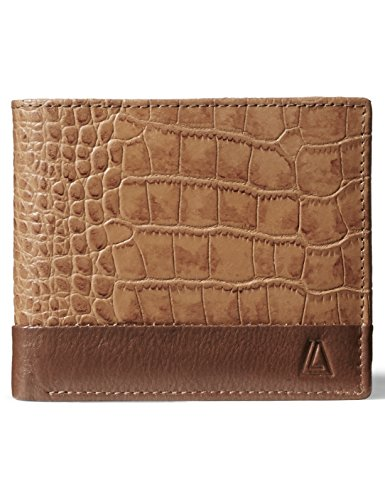 Leather Architect Men's 100% Leather RFID Blocking Classic Trifold Wallet With 12 Credit Card Slots Cognac