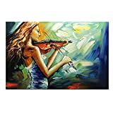 V-inspire Art, 24x36 Inch Modern Abstract Artwork Violin Girl Canvas Painting Wall Art Home Decorations Wall Décor Stretched Frame Ready to Hang