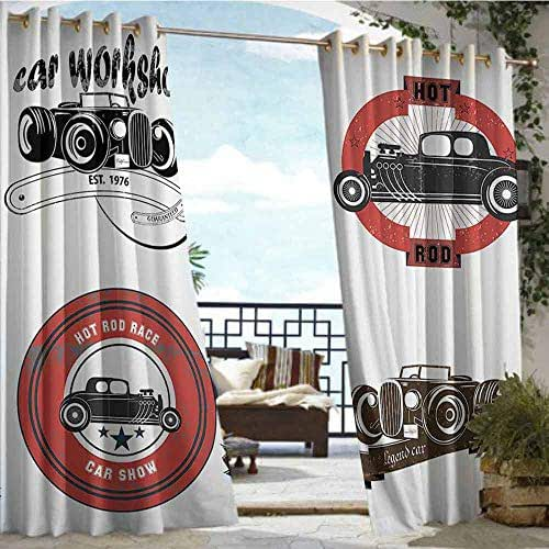 Andrea Sam Outdoor Blackout Curtains Cars Decor,Retro Pop Art Style Automotive Emblem Print with Grunge Distressed Old Featured Color Properties,Multi,W72 xL108 Silver Grommet Top Drape