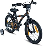 "PROMETHEUS Kids bike 16 inch Boys and Girls in black Matt & Orange with metallic stabilisers | Aluminum Calliper brake and backpedal brake | including security package | as from 5 years | 16"" BMX Edition 2018"