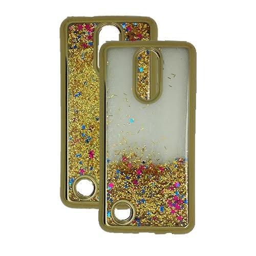 Phone Case Tracfone LG Rebel 3 Prepaid Smartphone, Glitter Liquid Clear TPU Case (Gold) -  Wireless