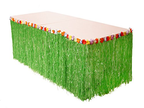 Hawaii Aloha Flowers Tiki Bar (Luau Life Hawaiian Grass Table Skirt with Hibiscus Flower Trim | Plastic Clips Included for Extra Support | Perfect Luau Themed Decorations for Tiki Bars and Island Birthday Party Supplies (Green))