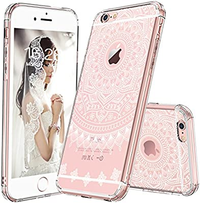 cheaper 22f40 071a0 iPhone 6s Case, iPhone 6 Cover, MOSNOVO Girly White Henna Mandala Clear  Hard Case Design with Soft TPU Bumper Gel Protective Shockproof Back Phone  ...