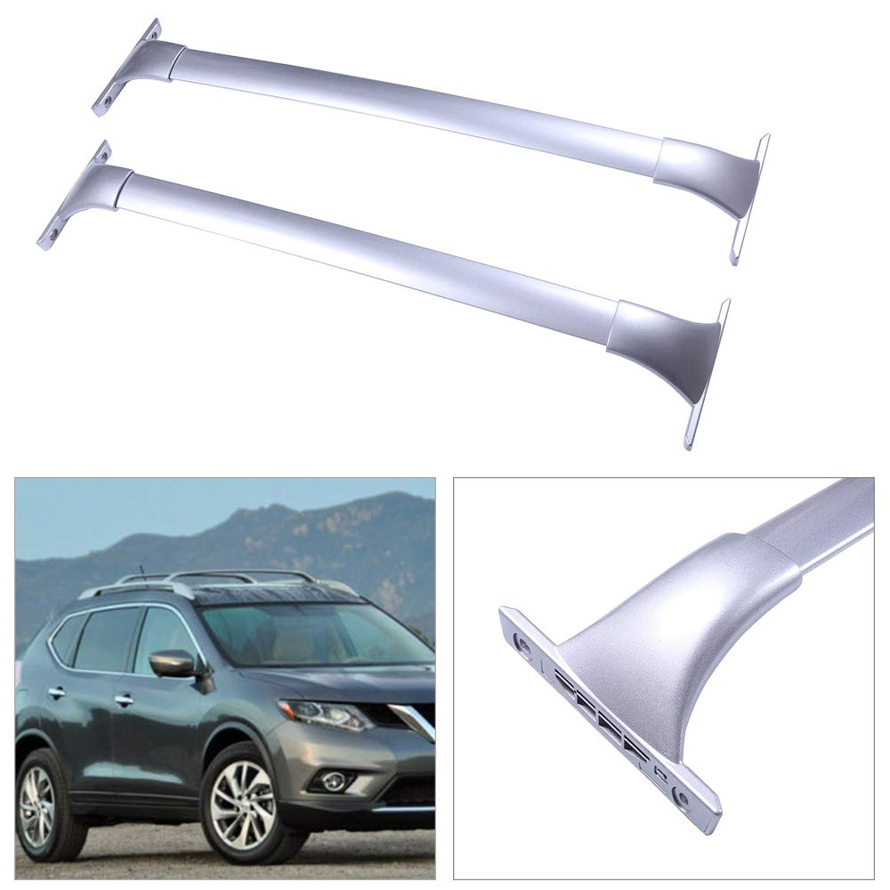 Only Fit Models with Actual Side Rails cciyu 2Pcs Universal Silver Aluminum Roof Rack Cross Bar Car Top Luggage Carrier Rails Fit for 2014-2018 Nissan Rogue Sport Utility 4-Door 2.0L 2.5L