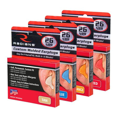 Radians Custom Molded Earplugs LOT of 4 Tan,Red,Blue,Orange ()