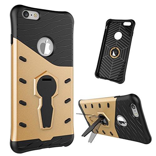 Meimeiwu Stilvolle TPU 2-Schicht-Schutz Durable Fall-Abdeckung mit Kickstand für Iphone 6 Plus 6S Plus,Gold