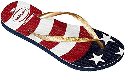 Havaianas Women's Slim Wavy USA Flag Sandal Navy Blue Flag 39-40 BR/9-10 B(M) US Women/7-8 D(M) US Men