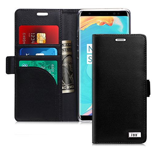 FYY [Genuine Leather] [RFID Blocking] Wallet Case for Samsung Galaxy Note 8 2017, Handmade Flip Folio Wallet Case with Kickstand and Card Slots for Samsung Galaxy Note 8(2017) Black