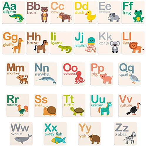 Fawn Hill Co. Alphabet Fridge Magnets | Magnetic Letters with Educational Animal Designs | ABC Magnets with Heavy Duty Strength for All Metal Surfaces | 2 x 2 Inches