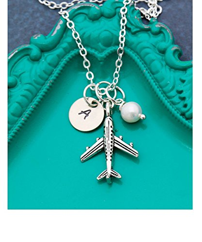 Airplane Necklace – DII ABC - Pilot Gift - Flight Attendant – Handstamped Handmade Jewelry – 3/8 Inch 9MM Silver Disc – Custom Birthstone Color – Customize Name – Fast 1 Day Shipping