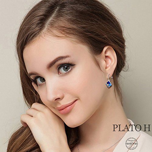 Swarovski Element Earrings Cube Earrings Color Changing Crystals Heart Of Ocean Blue Drop Dangle Earrings, Birthday Birthstone Jewelry Gifts for Women by PLATO H (Image #5)