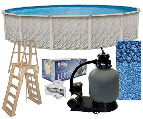 2-Inch Round Above-Ground Swimming Pool Complete Bundle Kit | Boulder Swirl Pattern Overlap Liner | A-Frame Ladder System | Filter Tank | 1-HP Pump | Wide-Mouth Skimmer ()