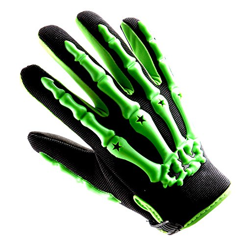 Bmx Gear (Youth Motocross Gloves Motorcycle BMX MX ATV Dirt Bike Bicycle Skeleton Cycling Kids Gloves Green)