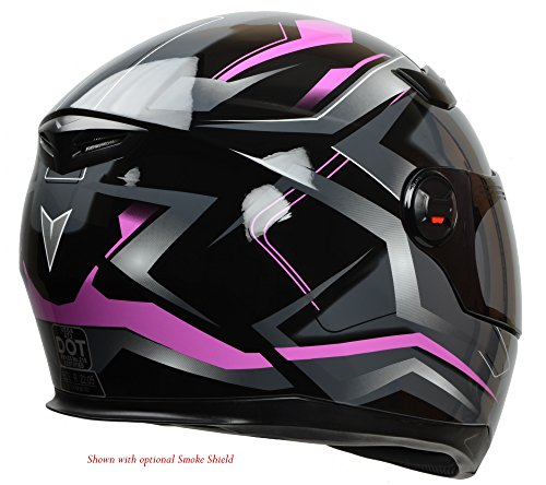 Vega Helmets AT2 Street Motorcycle Helmet for Men & Women – DOT Certified Full Face Motorbike Helmet for Cruisers Sports Street Bike Scooter Touring Moped Moto (Pink Flash Graphic, Large)