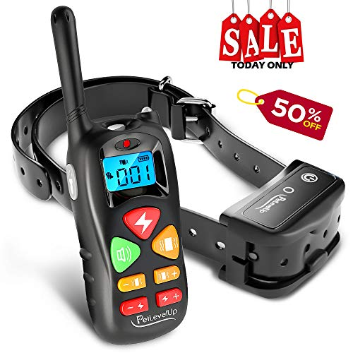 PetLevelUp Shock Collar for Dogs - Dog Training Collar with Remote Control 1000 feet - Rechargeable and Upgraded IP67 Waterproof Electric Collar for Large Medium Small Dogs ()