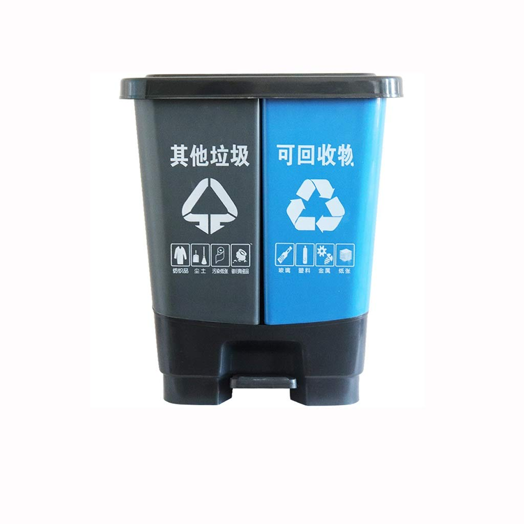 Kffc Big Trash Can,Foot Open Cover,Can Be Hung On The Car,30/50/80 Litre, Gray&Blue (Size : 30 L)
