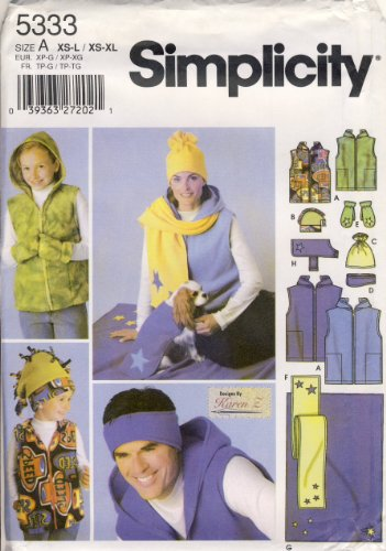Simplicity Sewing Pattern 5333 - Use to Make - Unisex Fleece Accessories - Hats, Headbands, Mittens, Scarf, Car Blanket, Dog Coat - Child Sizes XS-L and Adult XS-XL