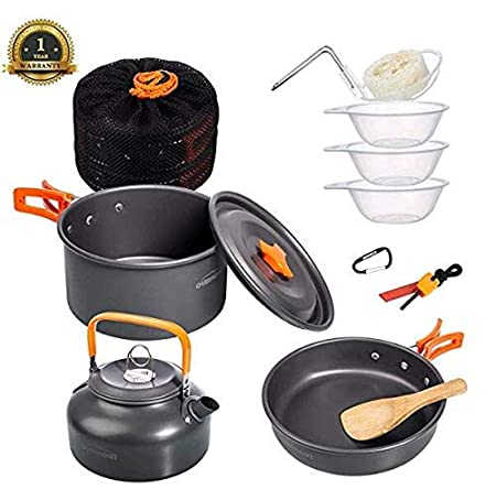 Overmont Ultralight Camping Cookware Set Camping Stove Outdoor Cooking Mess Kit Pots Pans Camp Kettle Portable for Backpacking Hiking Trekking Picnic Fishing Mountaineering
