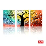 BPAGO Abstract Canvas Paintings Lucky Tree 3 Panels Modern Paintings on Giclee Canvas Wall Art for Living Decor on Stretched and Framed Ready to Hanging (12x16inch x3pcs)