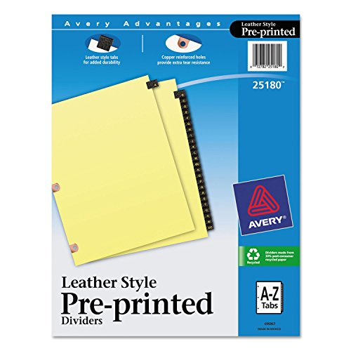 Avery Preprinted Black Leather Tab Dividers w/Copper Reinforced Holes, 25-Tab, Letter (Avery Copper Reinforced Preprinted Tab)