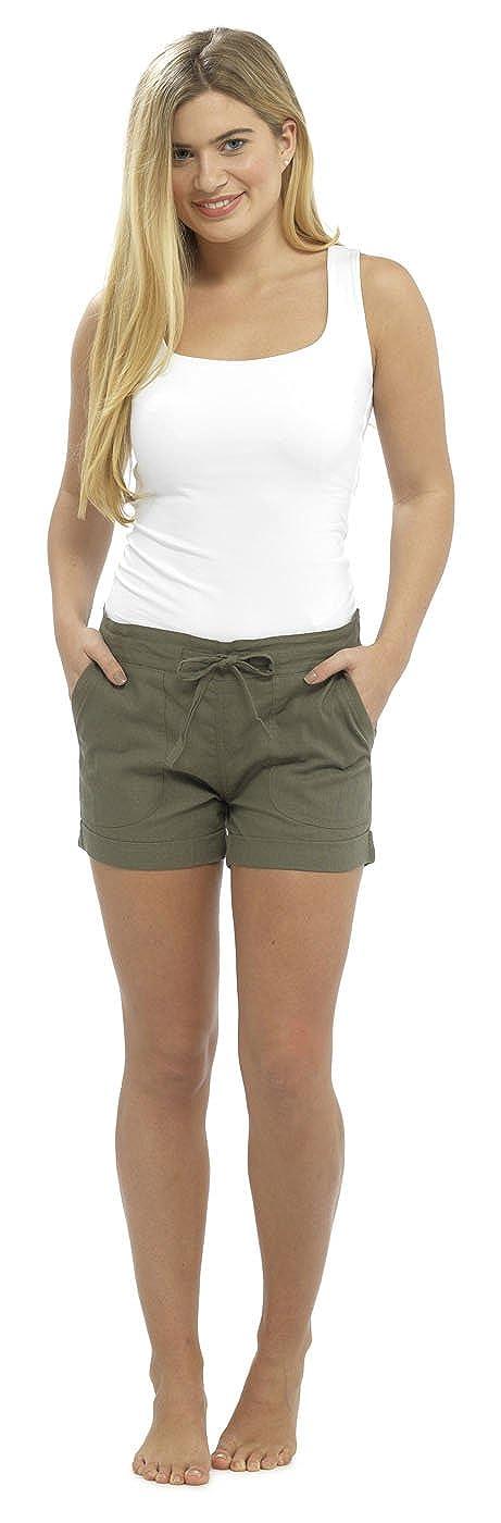 Mujer Mujer CASUAL Lino Fresco Pantalones cortos ideal para Vacaciones// verano// PLAYA